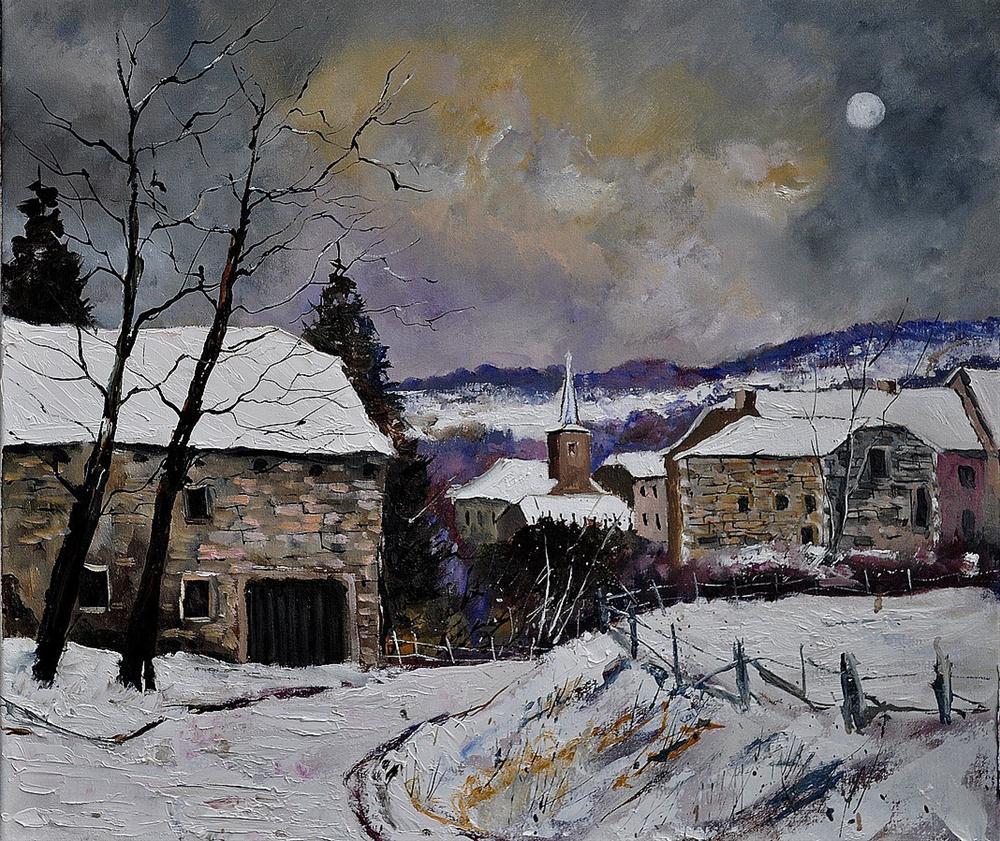 """Snow in Gendron"" original fine art by Pol Ledent"