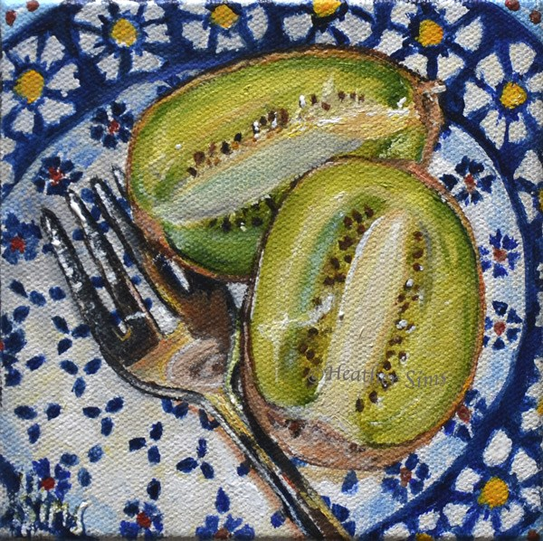 """Kiwi: Polish Pottery LXXXIII"" original fine art by Heather Sims"