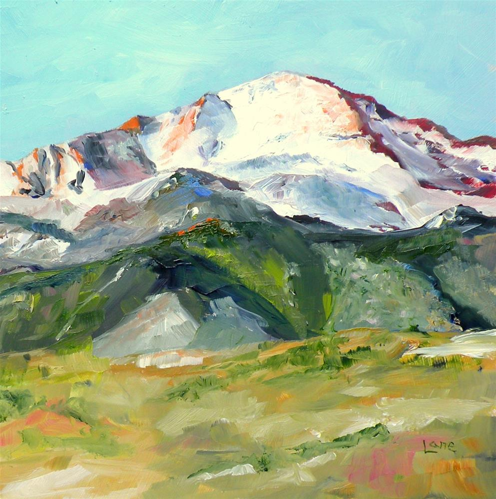 """PIKES PEAK ORIGINAL OIL OF A COLORADO 14ER © SAUNDRA LANE"" original fine art by Saundra Lane Galloway"