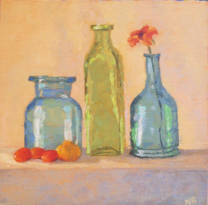 """Morning Bottles"" original fine art by Nina Brodsky"