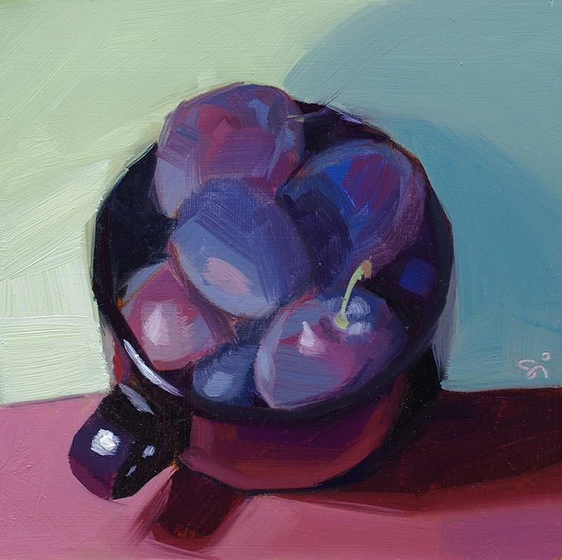 """A cup of plum"" original fine art by Istvan Schaller"