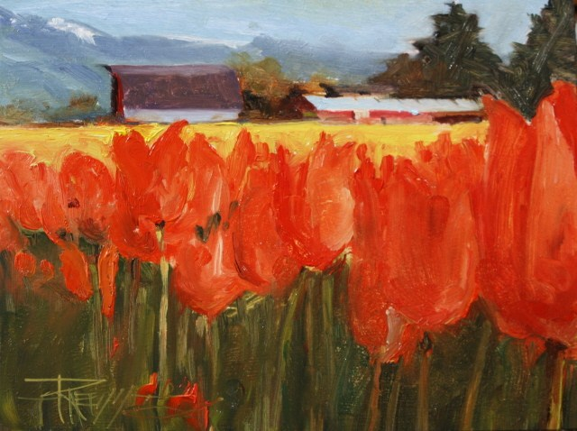 """Tulip Farm  LaConnor flower field, landscape oil painting by Robin WeissTulip Farm"" original fine art by Robin Weiss"