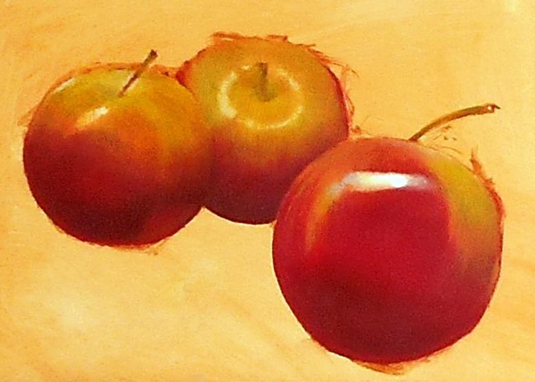 """Three Apples"" original fine art by Stuart Graham"