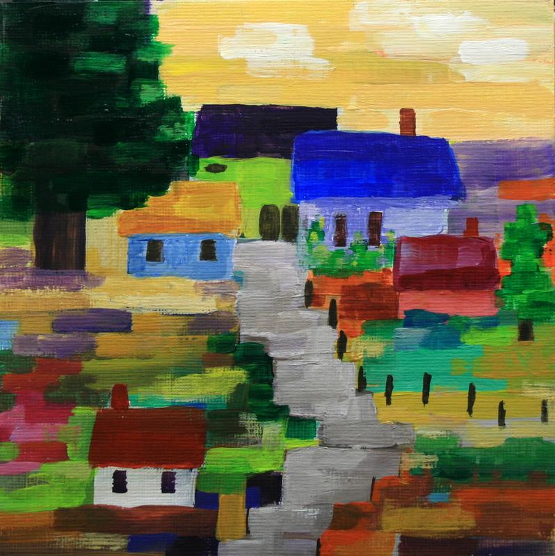 """""""The Little Village"""" original fine art by Jean Nelson"""