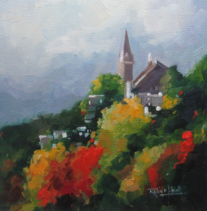 """No 530 The Church on the Hill"" original fine art by Robin J Mitchell"