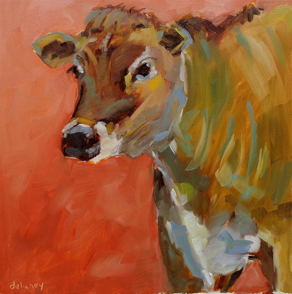 """Cow 124 PETITE PAT"" original fine art by Jean Delaney"