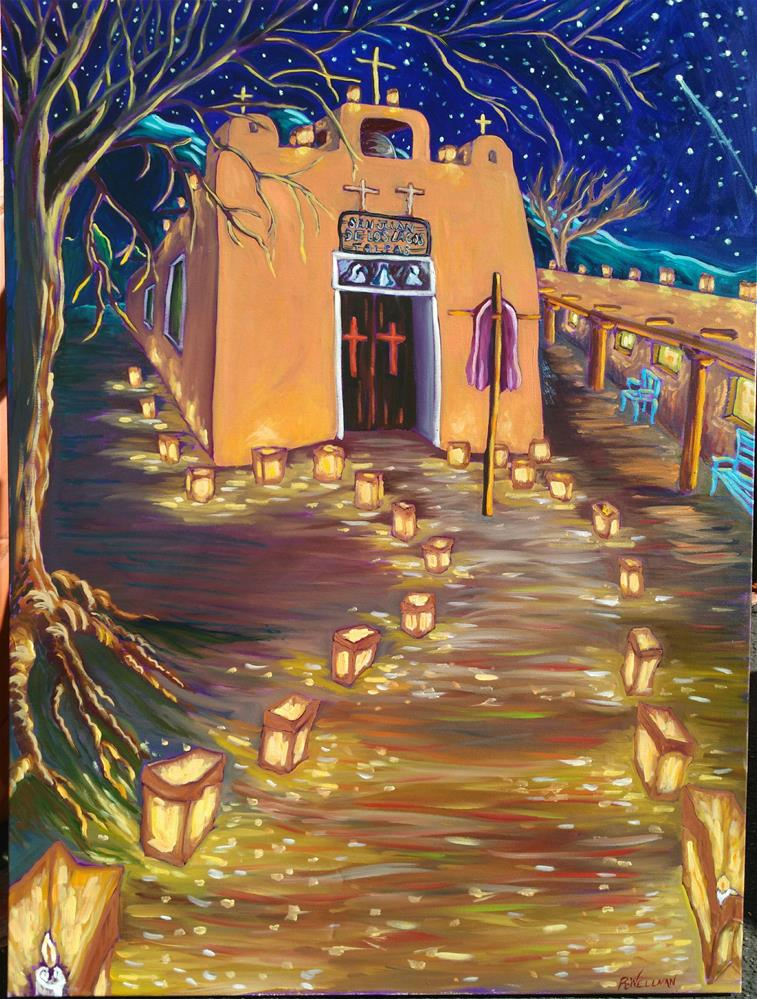 """Luminarias at Talpas"" original fine art by Robyn Wellman"