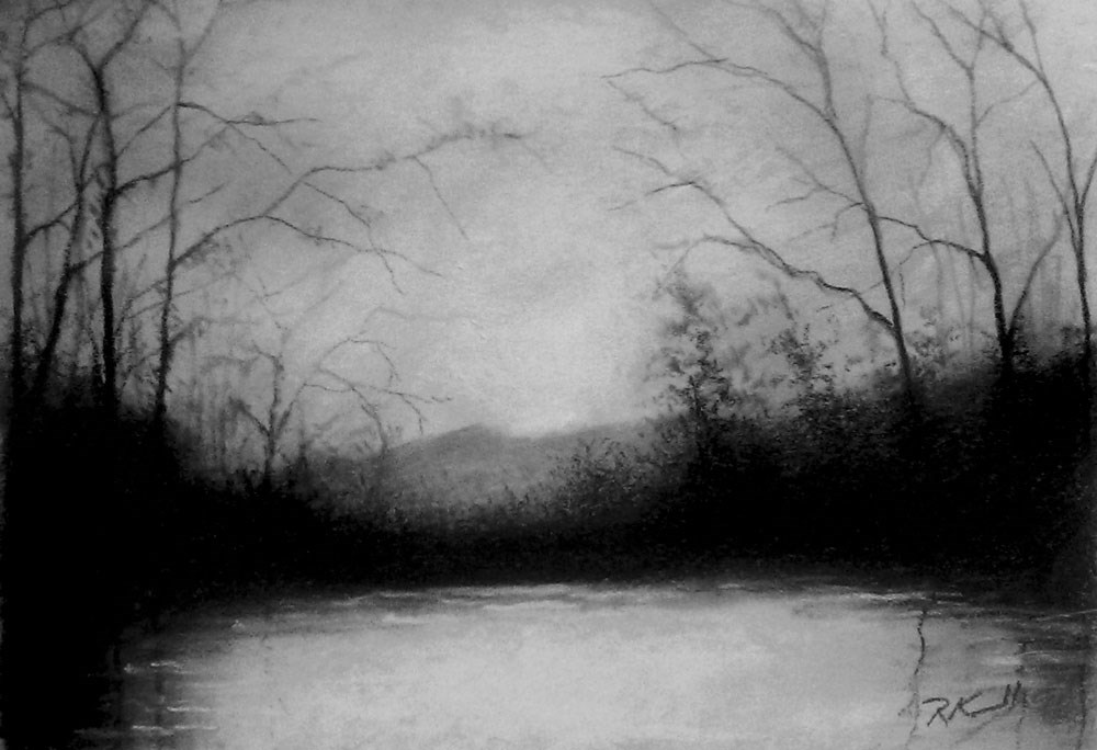 """Moody Lake"" original fine art by Bob Kimball"