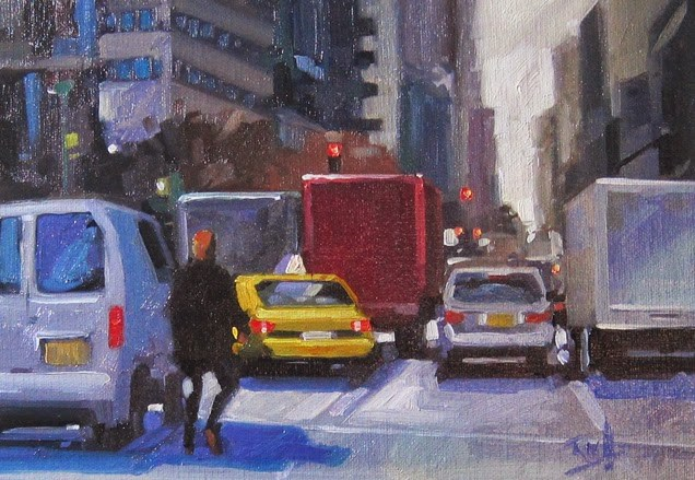 """No 770 Oh the Traffic"" original fine art by Robin J Mitchell"