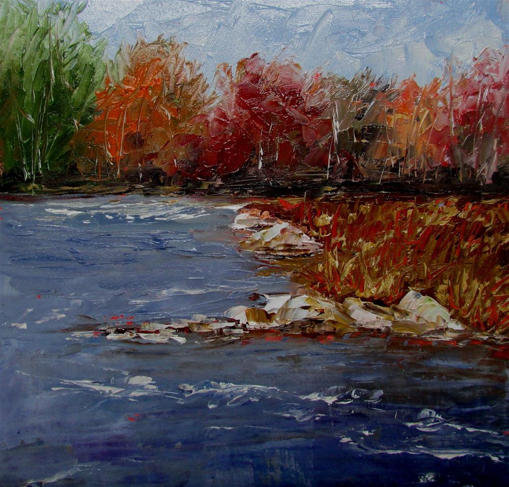 """8 x 8 inch oil Moser River #2"" original fine art by Linda Yurgensen"