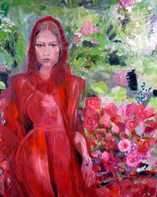 """Frau Rotkäppchen / rotkäppchen woman"" original fine art by Mila Plaickner"