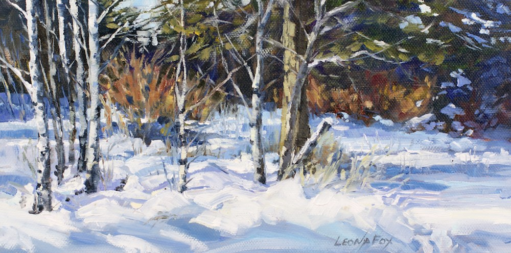 """Aspen Snow Shadows"" original fine art by Leona Fox"