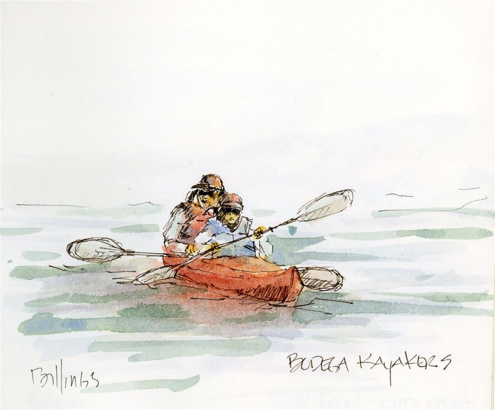 """Bodega Kayakers Sketch"" original fine art by Susanne Billings"