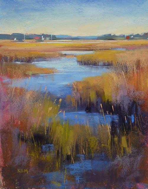 """New Marsh Painting...Interpreting a Photo"" original fine art by Karen Margulis"