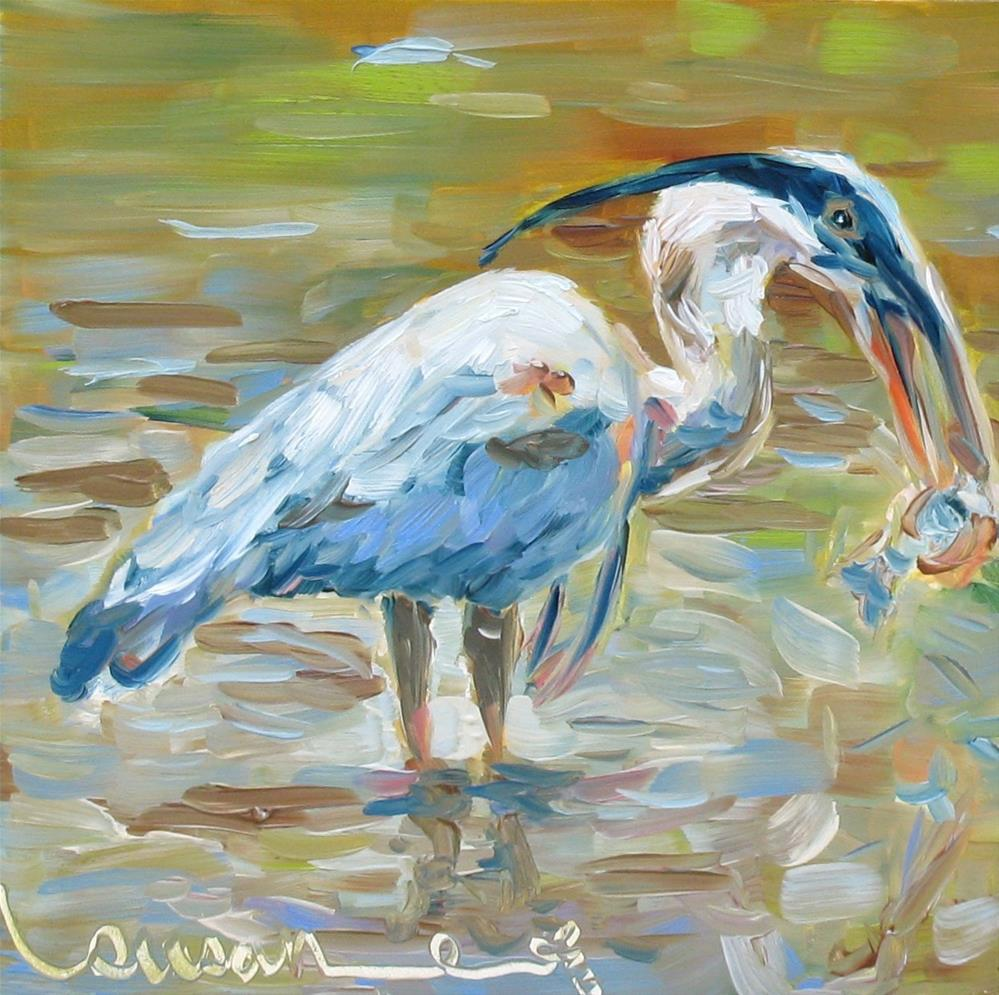 """Blue Heron"" original fine art by Susan Elizabeth Jones"