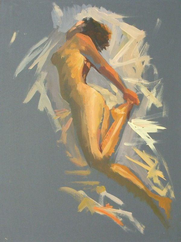 """""""Nude in flight"""" original fine art by Peter Orrock"""
