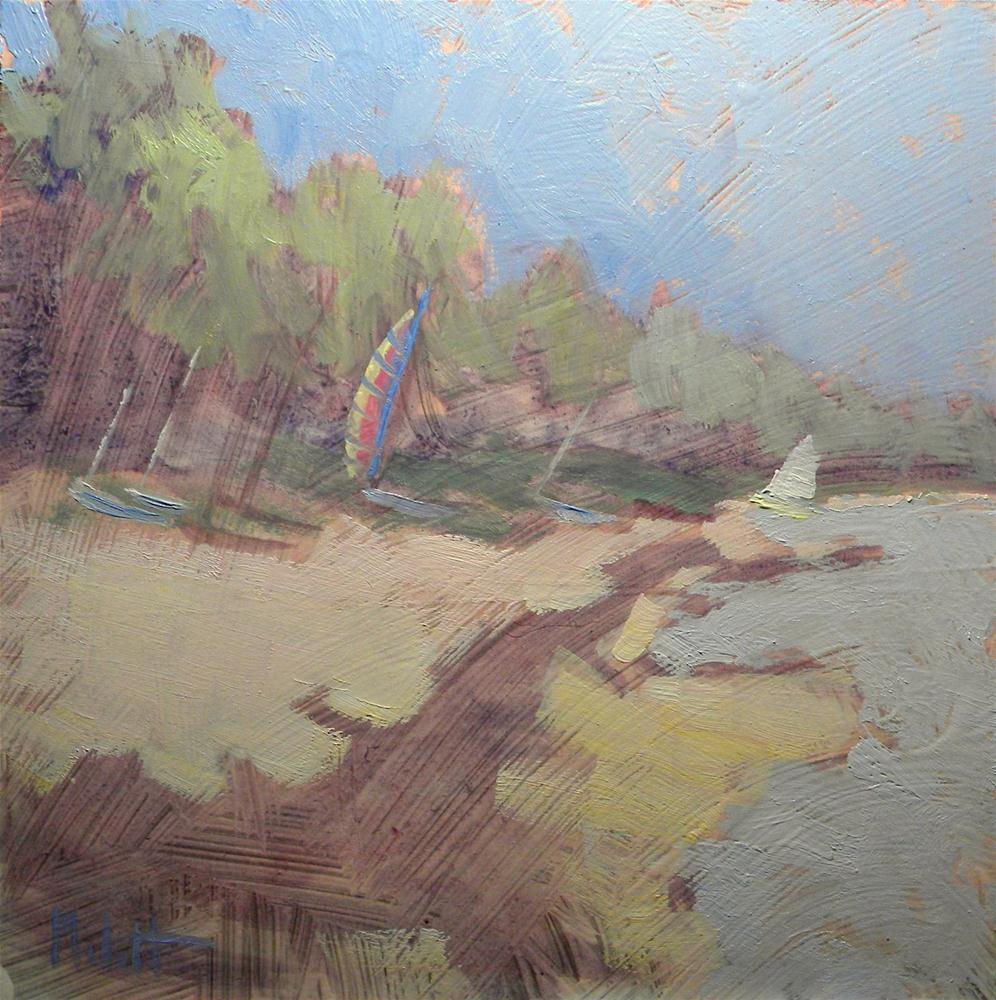 """Sailboats Windsurfing Lake Beach Sailing Contemporary Art Oil Painting 8x8"" original fine art by Heidi Malott"