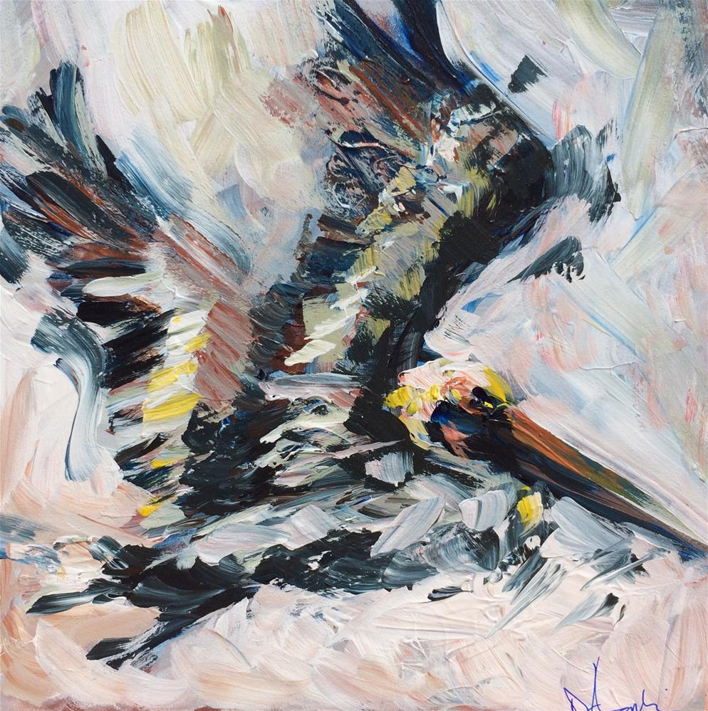 """Fly Away 3, Pelican Painting"" original fine art by Denise Hopkins"