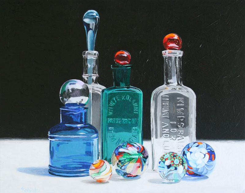 """Antique bottles and marbles"" original fine art by Setsuko Lawson"