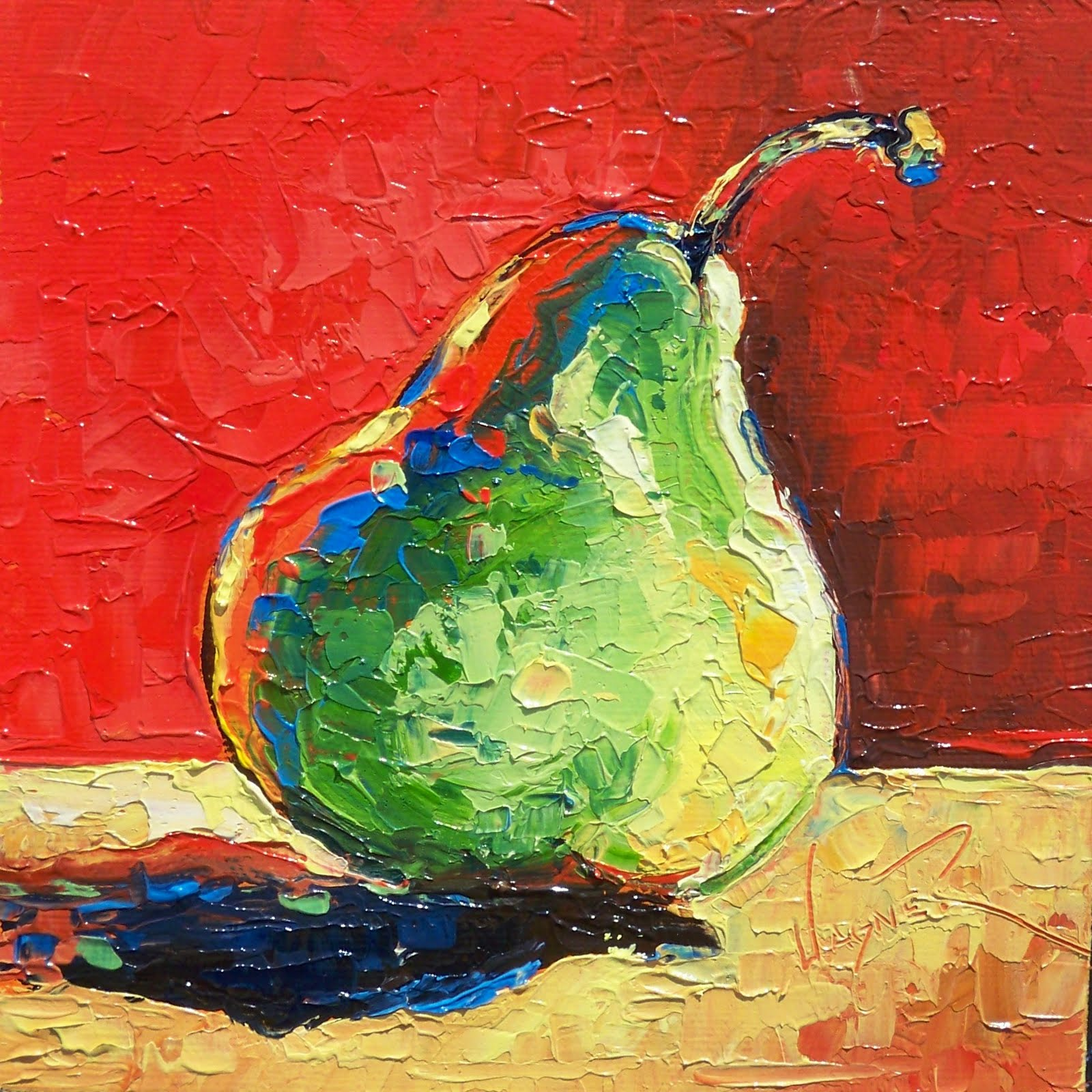 """CONTEMPORARY PEAR PAINTING IN PALETTE KNIFE"" original fine art by Olga Wagner"