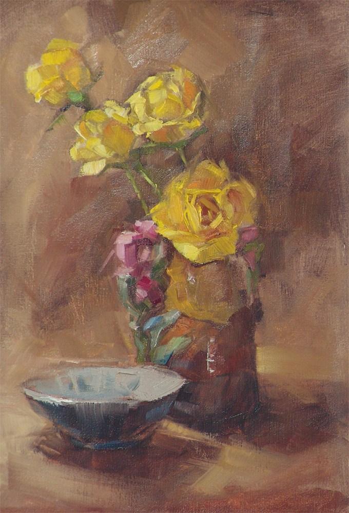 """Grandma's Vase  o/c  7.5x11"" original fine art by Barbara Schilling"