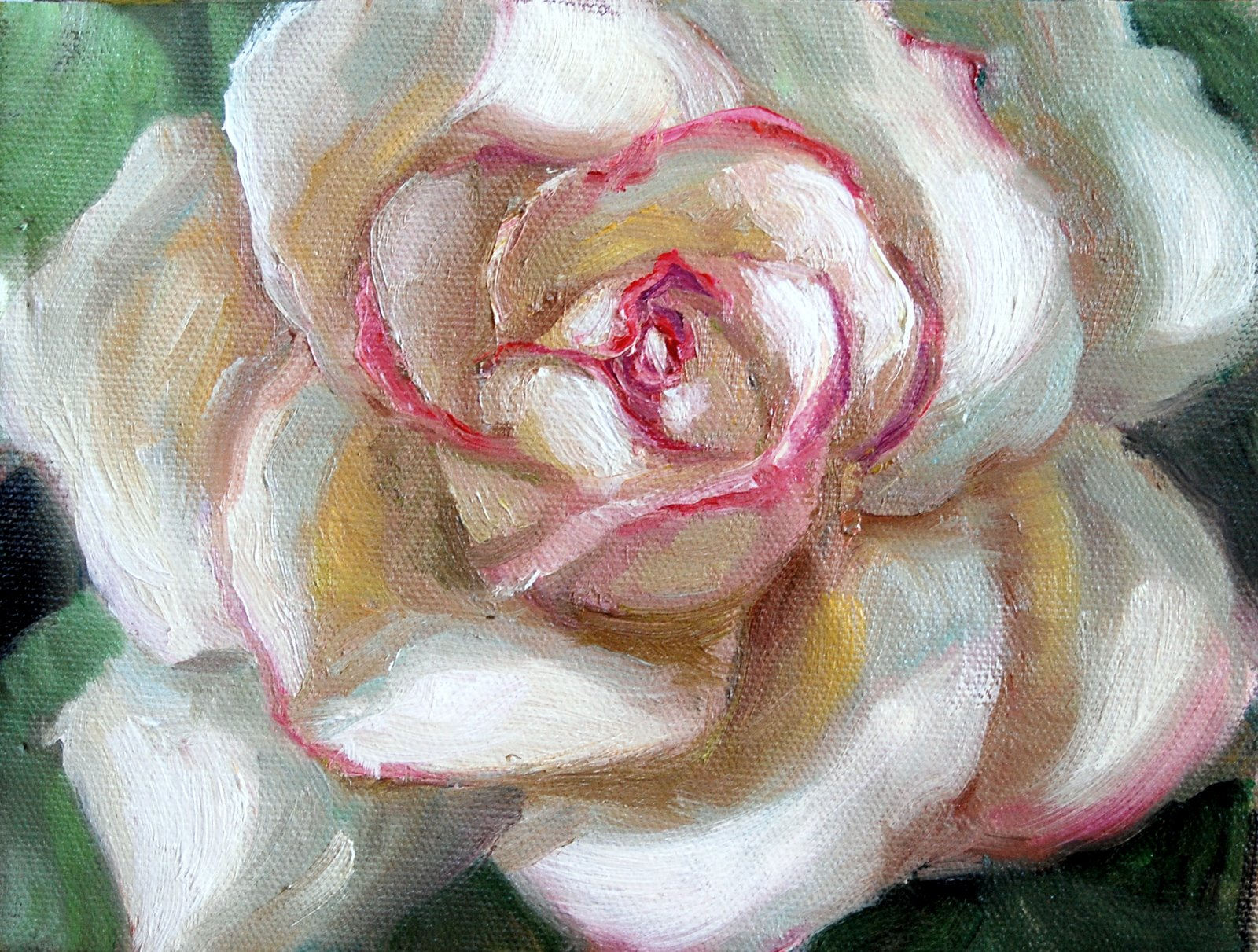 """""""Rose in the Style of Georgia O'Keeffe"""" original fine art by Julie Ford Oliver"""