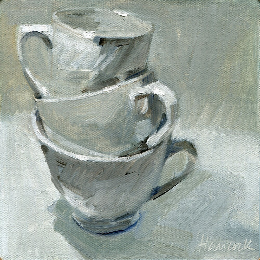 """White Cup Stack"" original fine art by Gretchen Hancock"