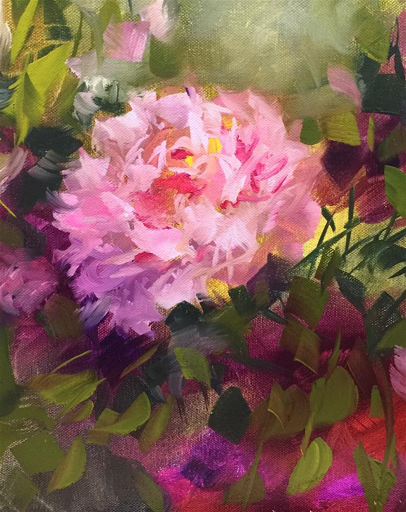 """Shadow Dancers Peony Solo - Nancy Medina Videos and Art Classes"" original fine art by Nancy Medina"