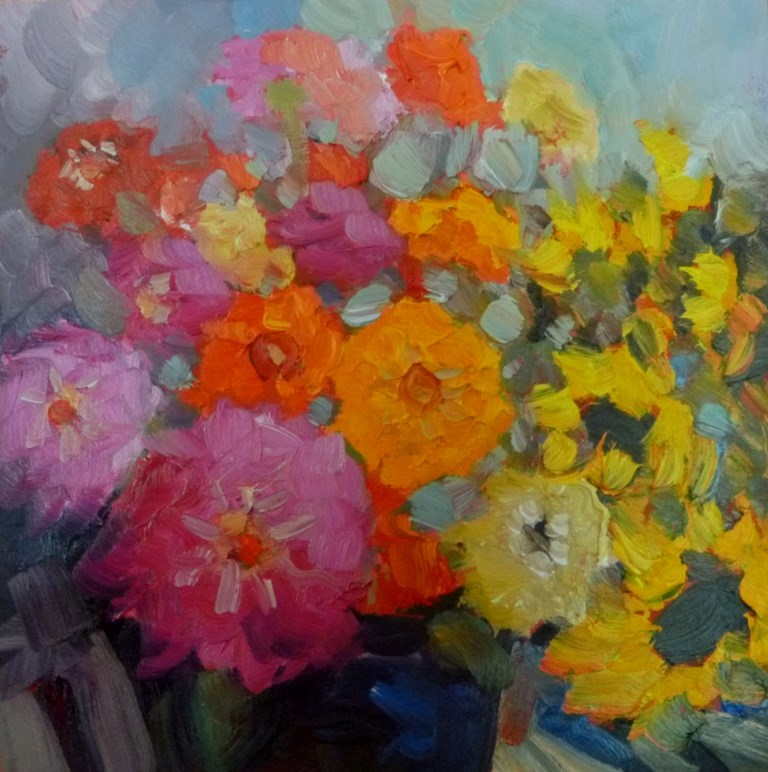 """54 MARKET ZINNIAS"" original fine art by Dee Sanchez"