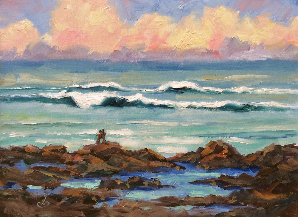 """SEASCAPE AT SUNSET"" original fine art by Tom Brown"