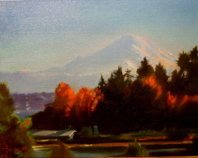 """Mount Rainier from the Bainbridge Ferry oil landscape painting"" original fine art by Robin Weiss"