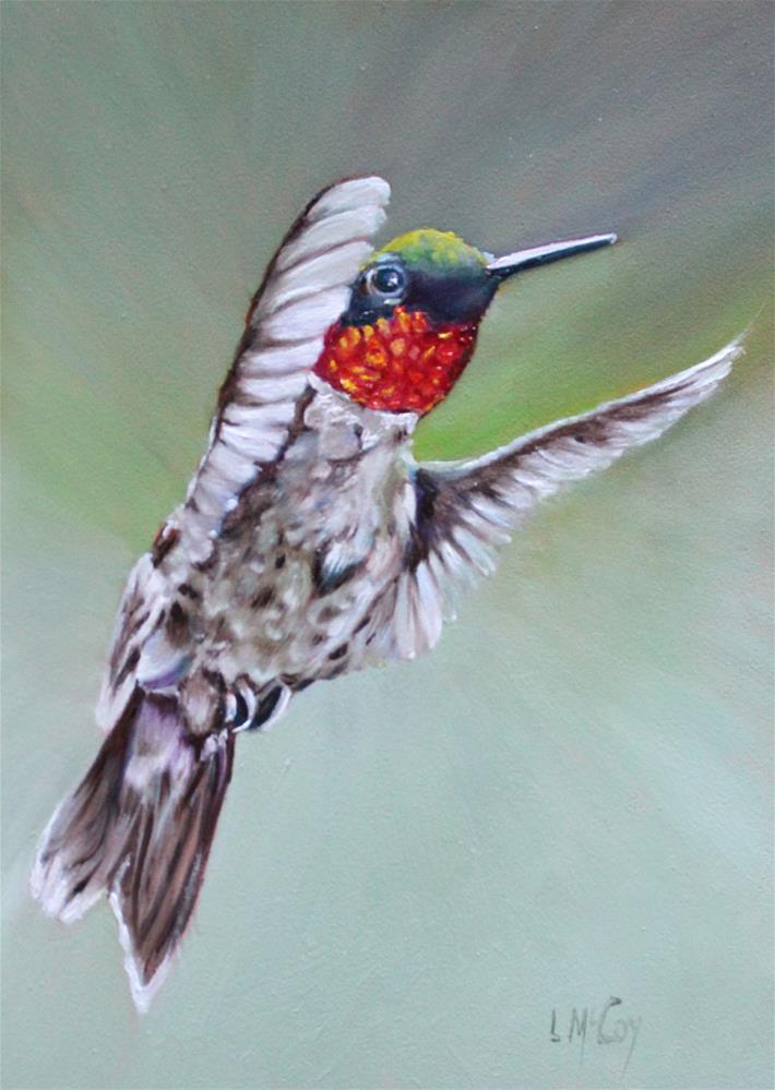 """Rise, Hummingbird in Flight, Linda McCoy"" original fine art by Linda McCoy"