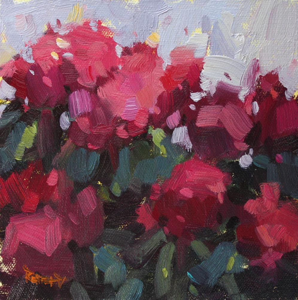Pink Rhodies original fine art by Cathleen Rehfeld