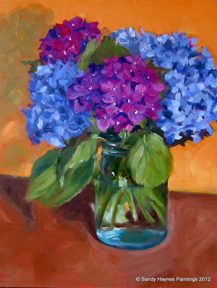 """Purple hydrangeas"" original fine art by Sandy Haynes"