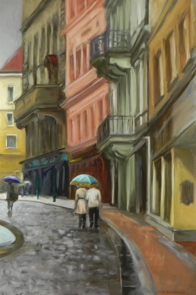 """Rainy Day in Prague"" original fine art by Jonelle Summerfield"