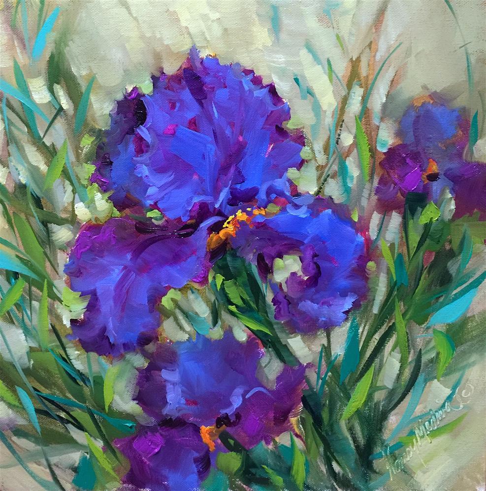 """A Nashville TN Workshop - Azure and Gold Iris by Nancy Medina Art"" original fine art by Nancy Medina"