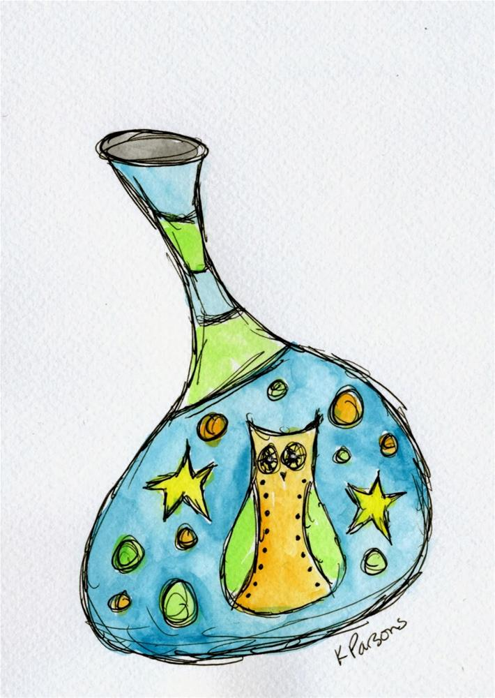 """A Vase with an Owl"" original fine art by Kali Parsons"