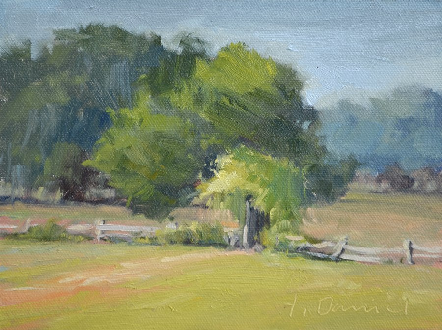 """Arbor Fence - Plein Air Demo"" original fine art by Laurel Daniel"