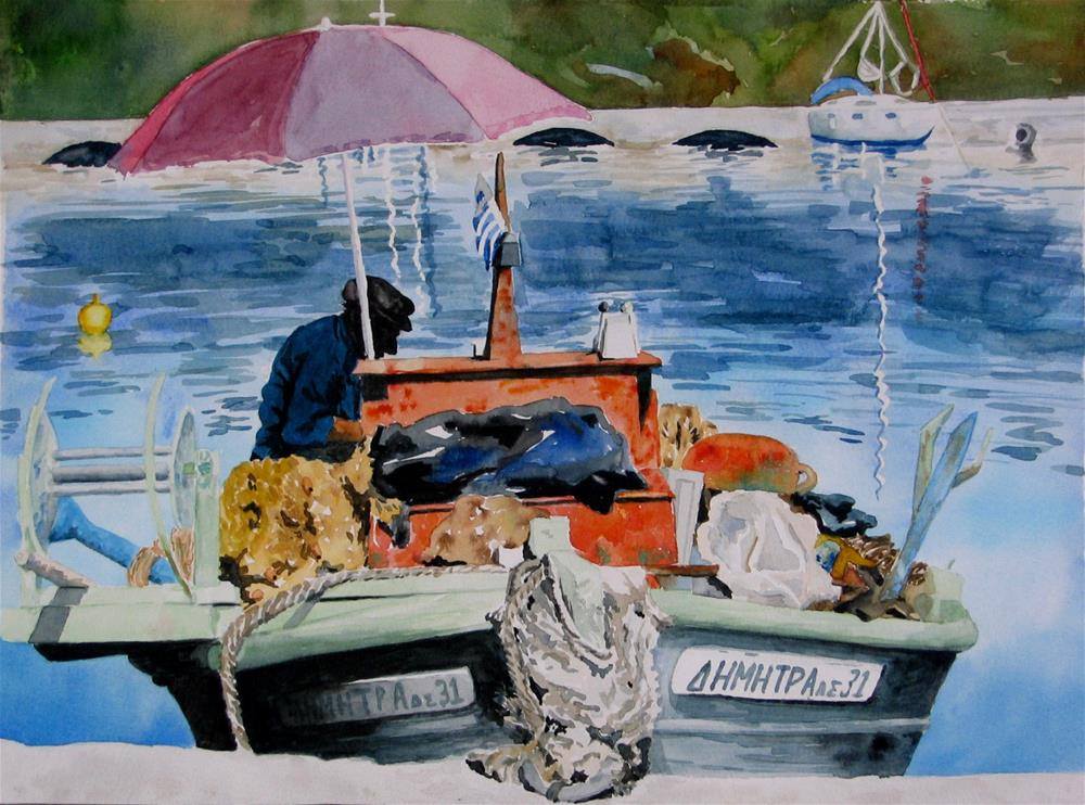"""Greek Fisherman"" original fine art by Crisynda Buss"
