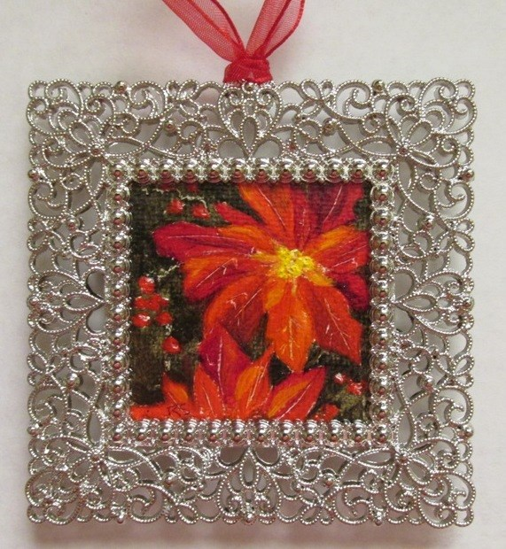 """Poinsettia Ornament"" original fine art by Ruth Stewart"