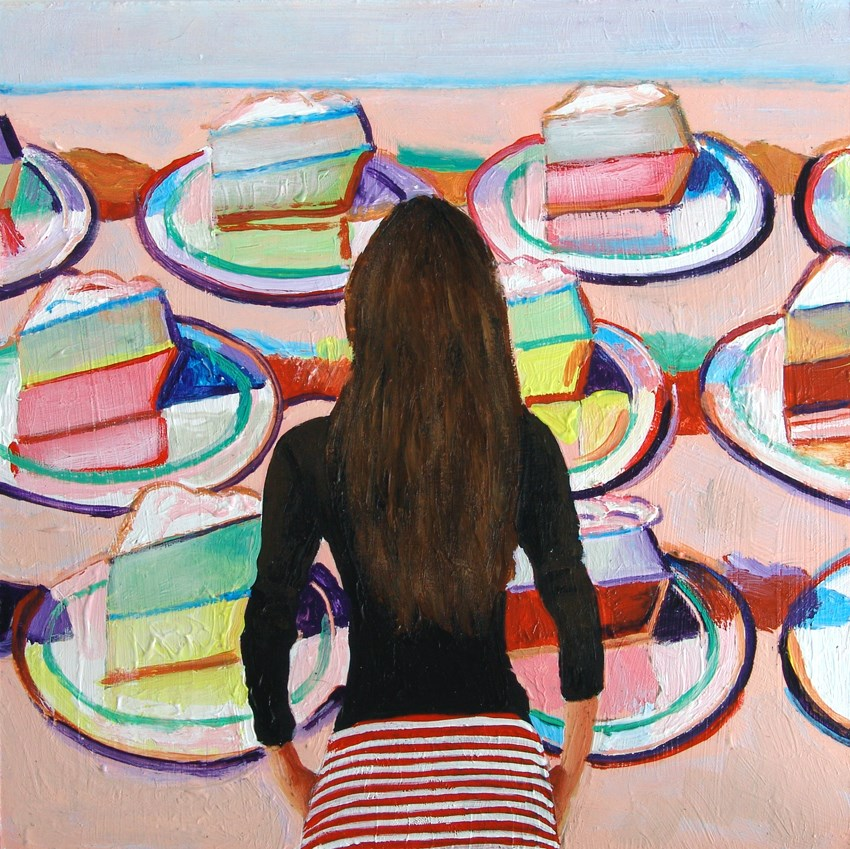 """Cakes- Painting Of Woman Enjoying Painting By Wayne Thiebaud"" original fine art by Gerard Boersma"