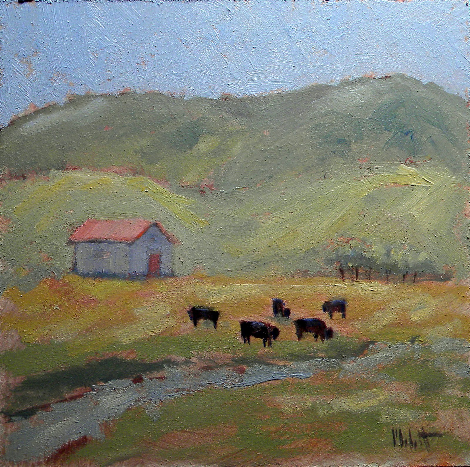 """Colorado Cows Daily Oil Painting Black Angus"" original fine art by Heidi Malott"