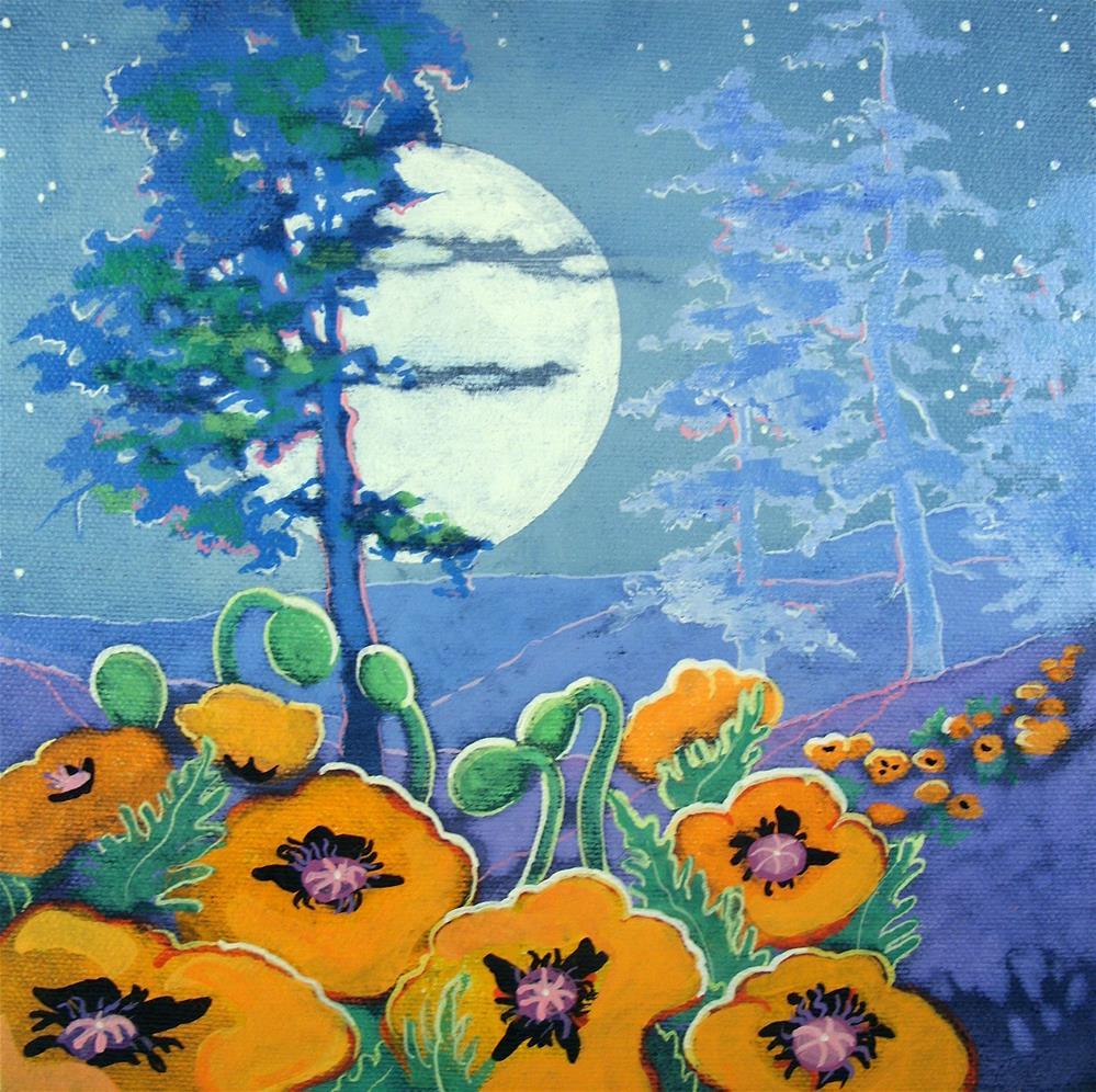 """The Poppy Moon Moorcroft Musings Series"" original fine art by Alida Akers"