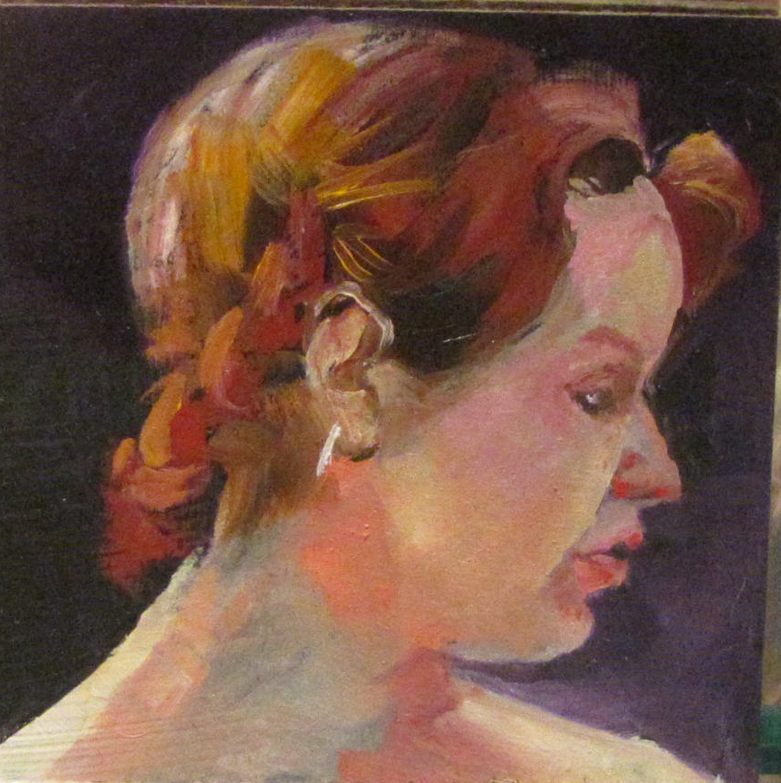"""Cheryl   4x4   oil portrait  #341"" original fine art by Christine Holzschuh"