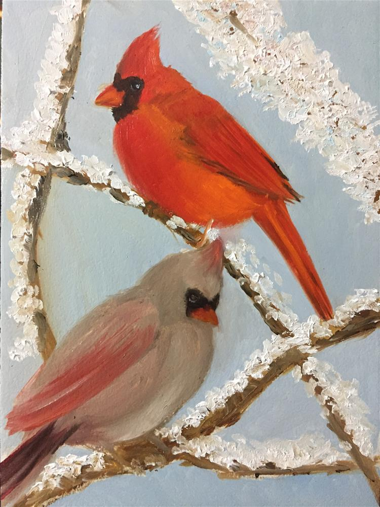"""Cardinal Couple"" original fine art by Carole Chalmers"