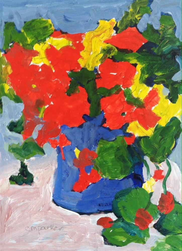 """nasturtiums"" original fine art by Christine Parker"