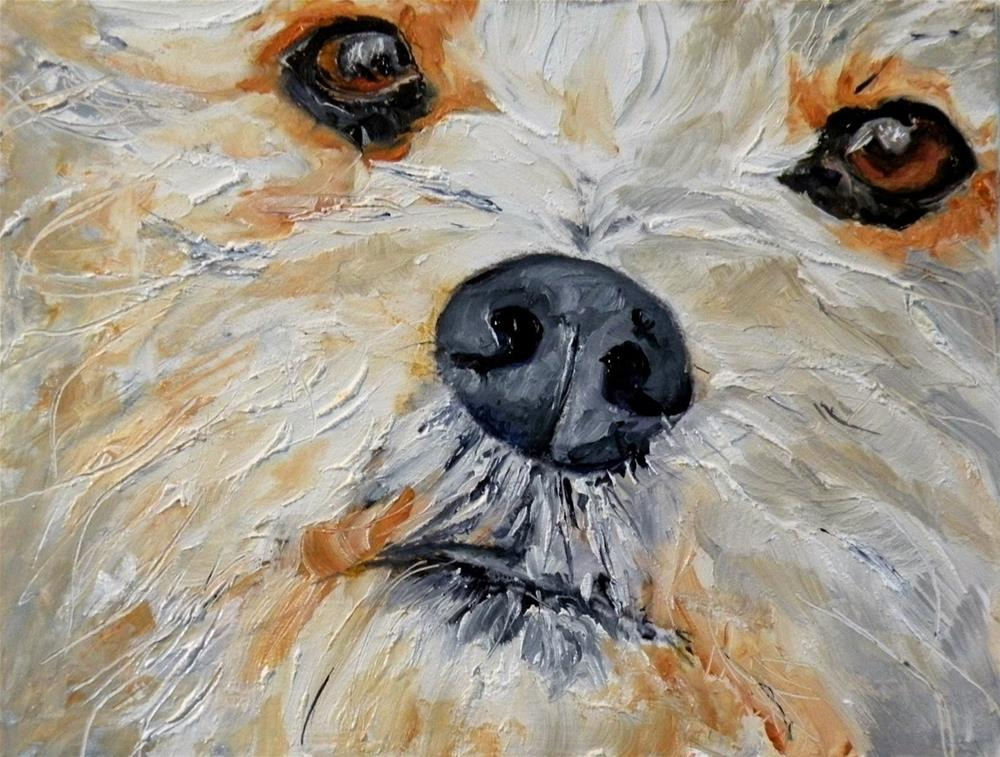 """PUPPY FACE ORIGINAL OIL FOR MY ETSY SHOP; AND...A NEW ITEM!  © SAUNDRA LANE GALLOWAY"" original fine art by Saundra Lane Galloway"