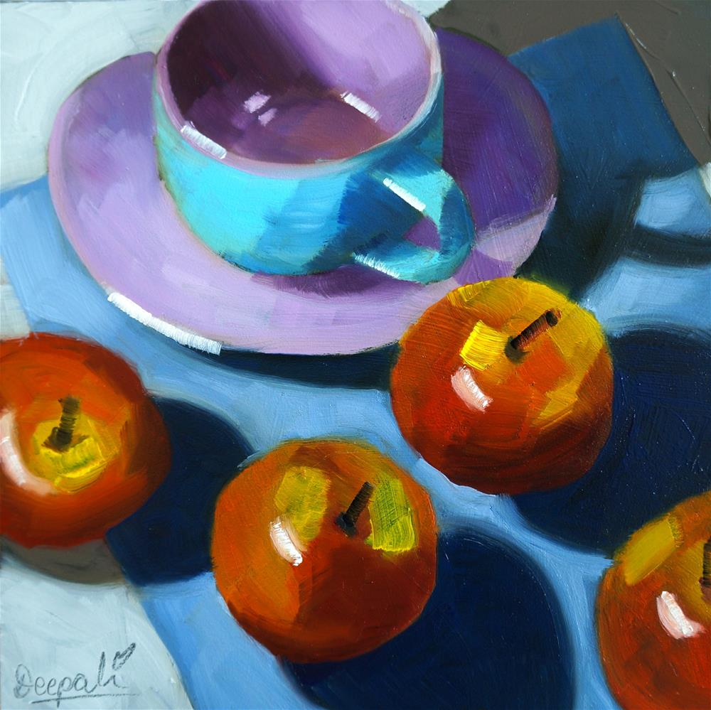 """Apples with blue cup"" original fine art by Dipali Rabadiya"
