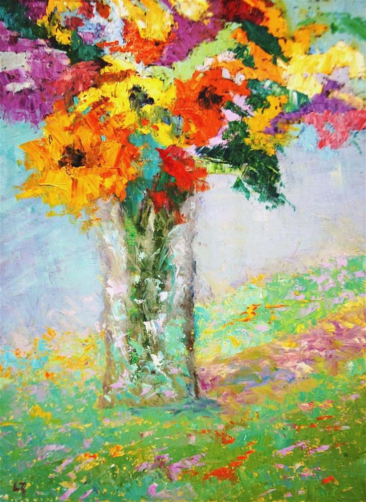 """End of Summer Flowers"" original fine art by Liz Zornes"