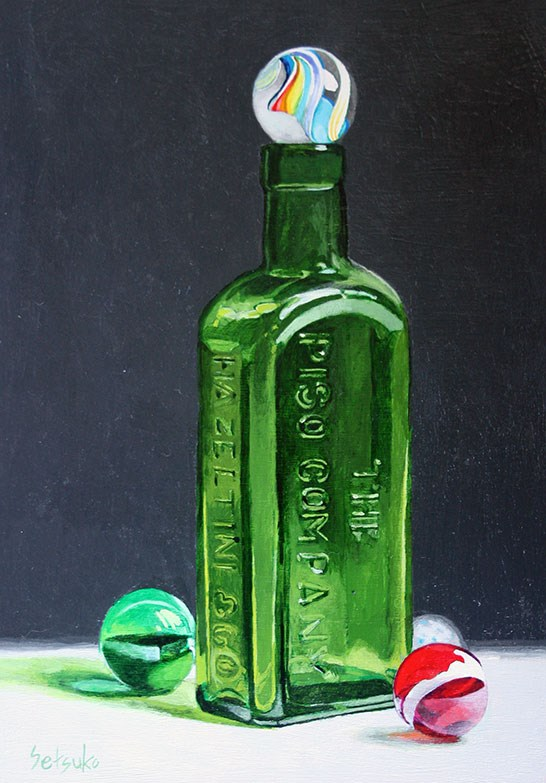 """Antique bottle and glass marbles"" original fine art by Setsuko Lawson"